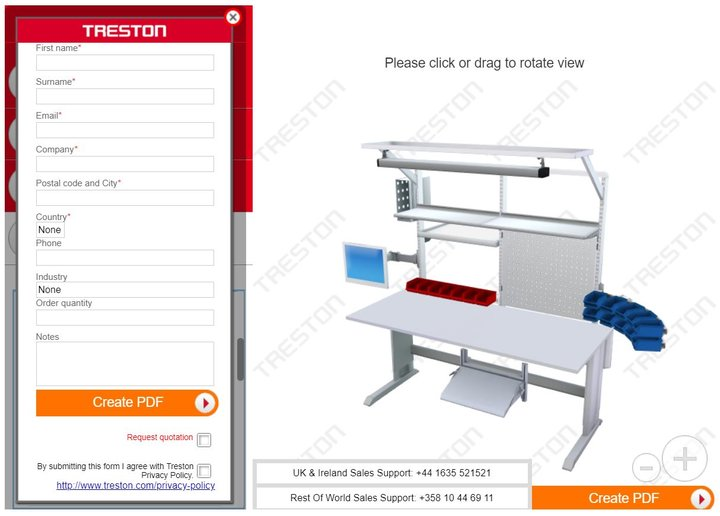 Design your own industrial workbench by using Treston 3D Configurator